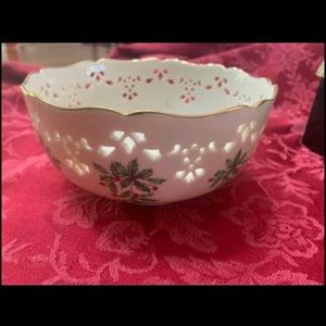 Lenox Christmas Bowl with holly design on side.